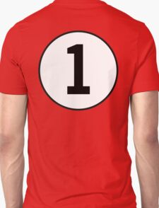 1, First, ONE, Number One, Number 1, Racing, Numero Uno, on Navy Blue T-Shirt