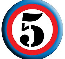 FIFTH, FIVE, 5, Roundel, TEAM SPORTS, NUMBER 5, Competition, White on Black by TOM HILL - Designer