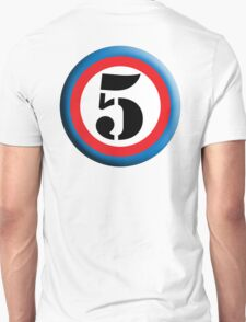 FIFTH, FIVE, 5, Roundel, TEAM SPORTS, NUMBER 5, Competition, White on Black Unisex T-Shirt