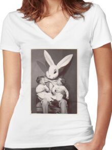 Creepy Easter Bunny Women's Fitted V-Neck T-Shirt