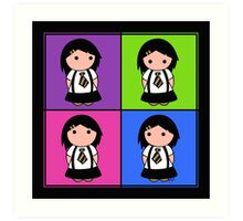 Tie Girl Jade Squared Art Print