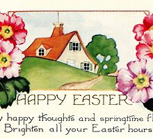 Happy Easter small village spring flowers scene by aapshop