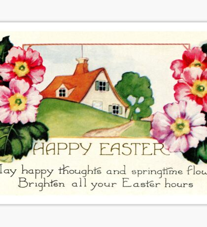 Happy Easter small village spring flowers scene Sticker