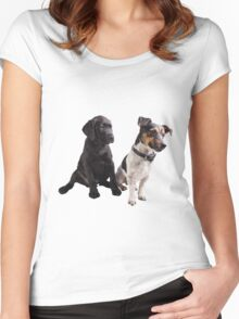cute little dogs sitting Women's Fitted Scoop T-Shirt