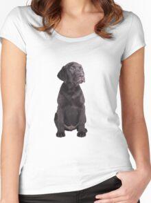 cute little black labrador retriever puppy Women's Fitted Scoop T-Shirt