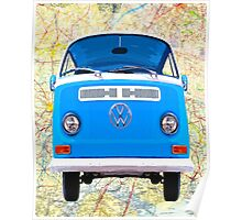 Open Roads - Classic Blue VW Campervan Poster