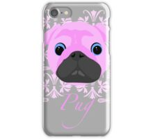 Pink Pug WOW patterned pug iPhone Case/Skin
