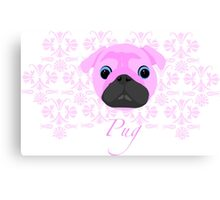 Pink Pug WOW patterned pug Canvas Print