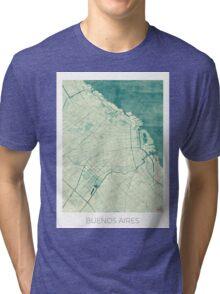 Buenos Aires Map Blue Vintage Tri-blend T-Shirt