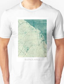 Buenos Aires Map Blue Vintage T-Shirt