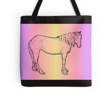 Horse Drawing with Colored Background, Standing Horse Tote Bag