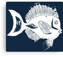 ETHNIC FISH (WHITE ON BLUE) Canvas Print