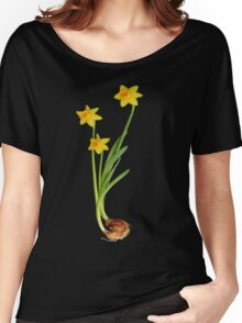 Daffodil on black Women's Relaxed Fit T-Shirt