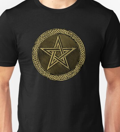 Pentacle Celtic Circle -  gold / copper  Unisex T-Shirt