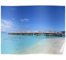 Water Bungalows by the beach Poster