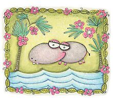 Happy Hippo Photographic Print