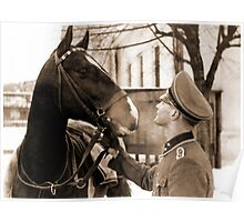 German Elite soldier and his Horse during WW2 Poster