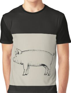Pig Outline Art: Standing Pig: Hog Drawing Graphic T-Shirt