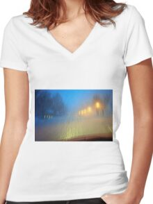 Blinding Snowstorm Women's Fitted V-Neck T-Shirt