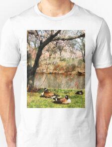 Geese Under Flowering Tree Closeup T-Shirt