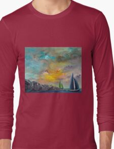 colorful sky sail boats Long Sleeve T-Shirt