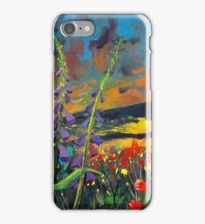 abstract landscape flower painting with colorful sky iPhone Case/Skin