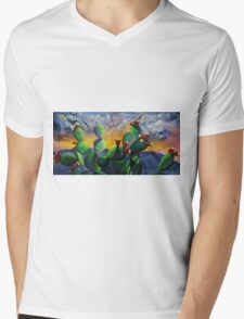 Original New Mexico cactus painting with a bold colorful sky and prickly pear fruit with the sandia mountains. Mens V-Neck T-Shirt