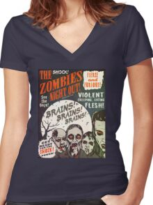 The Zombies Night Out! Women's Fitted V-Neck T-Shirt