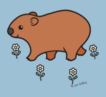 Walking Wombat with White Flowers Kids Tee