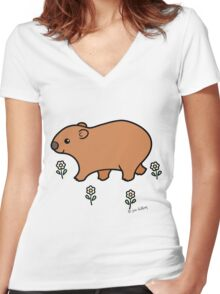 Walking Wombat with White Flowers Women's Fitted V-Neck T-Shirt