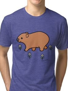 Walking Wombat with White Flowers Tri-blend T-Shirt