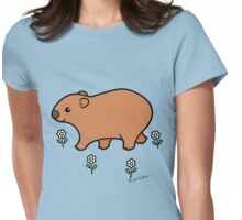 Walking Wombat with White Flowers Womens Fitted T-Shirt