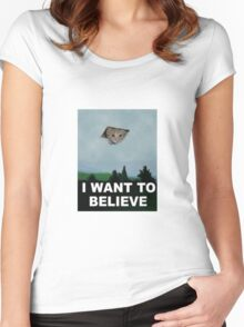 I Want To Believe - Kitty UFO Women's Fitted Scoop T-Shirt