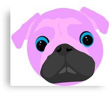 Pink Pug Head Canvas Print