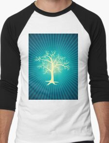 white tree with blue background Men's Baseball ¾ T-Shirt