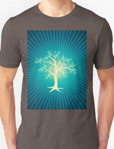 white tree with blue background Unisex T-Shirt