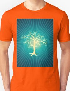 white tree with blue background T-Shirt