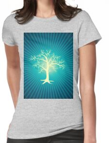 white tree with blue background Womens Fitted T-Shirt