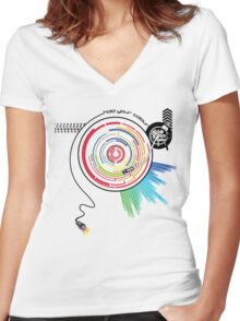 Pendulum Vinyl Music Mashup Women's Fitted V-Neck T-Shirt