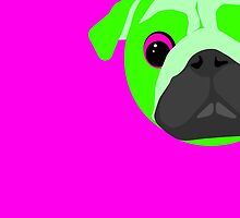 Lime Green Bright Pug Face Neon by offwhitelimo
