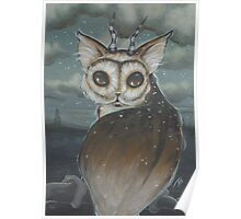 Meowl- owl cat Poster