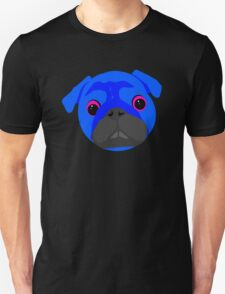 Blue Pug face neon T-Shirt