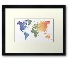 World Map - Watercolor Framed Print