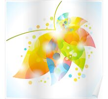 colorful abstract flower leaf Poster