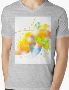 colorful abstract flower leaf Mens V-Neck T-Shirt