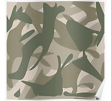 Grey and Green Camouflage Poster
