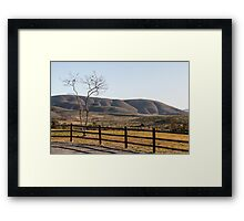 Fence Tree Mountain Framed Print