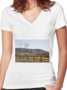 Fence Tree Mountain Women's Fitted V-Neck T-Shirt
