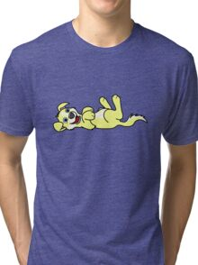Yellow Dog with Blaze - Roll Over Tri-blend T-Shirt