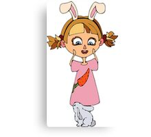 Funny bunny girl Canvas Print